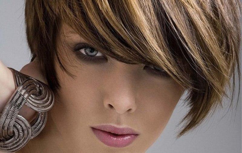 фото короткая челка с длинными волосами
